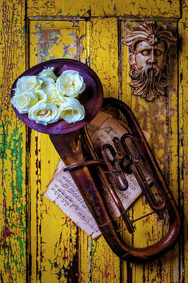 Photograph - White Roses In Old Tuba by Garry Gay