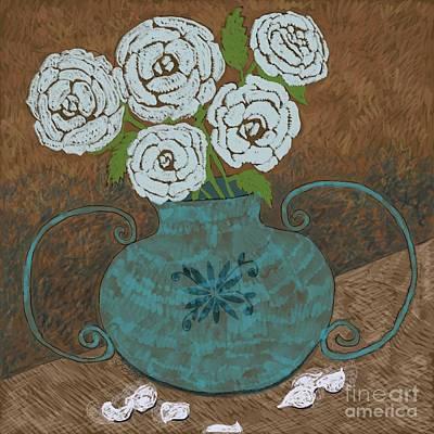 Painting - White Roses In Teal Vase by Caroline Street