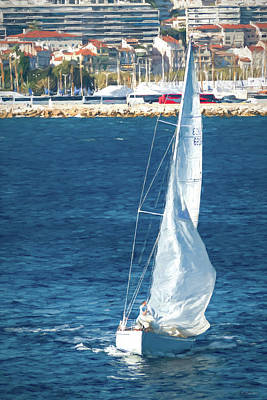 Photograph - White Sailboat At Cannes by Tony Grider