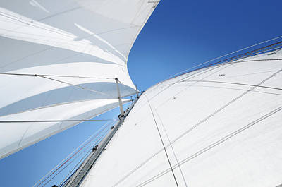 Recreational Boat Photograph - White Sails Against Blue Sky Seen From by Nikitje