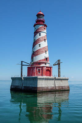 Cargo Boats Rights Managed Images - White Shoal Lighthouse 16 Royalty-Free Image by John Brueske