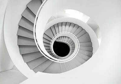 Photograph - White Spiral Stairs by Roc Canals Photography