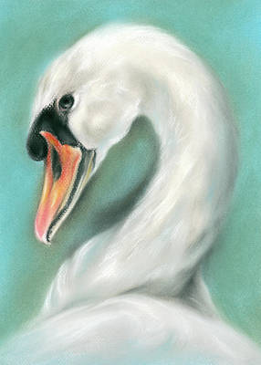 Pastel - White Swan Portrait by MM Anderson