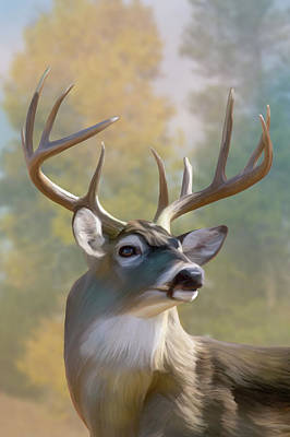 Digital Art -  White-tailed Deer In Autumn by Mark Miller
