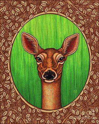 Painting - White Tailed Doe Portrait - Brown Border by Amy E Fraser