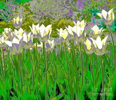 Digital Art - White Tulips by Susan Rydberg