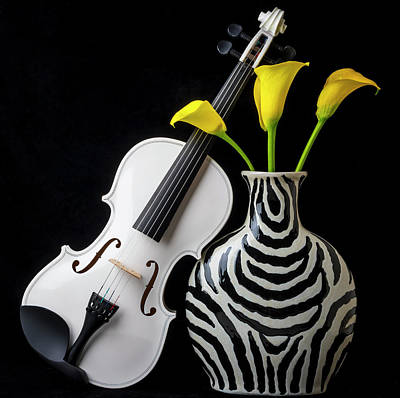 Photograph - White Violin And Striped Vase by Garry Gay