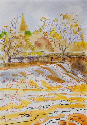 Mixed Media - White Water At The Weir - River Exe In Devon by Mike Jory