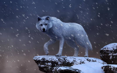 Digital Art - White Wolf In A Blizzard by Daniel Eskridge