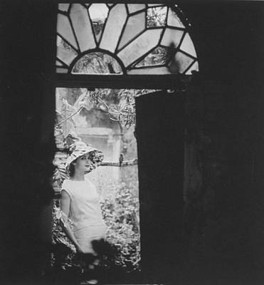 Photograph - White Wool Dress With Taffeta Hat And Ro by Gordon Parks