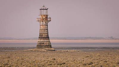 Elliott Coleman Royalty-Free and Rights-Managed Images - Whiteford Point Lighthouse in Pink by Elliott Coleman