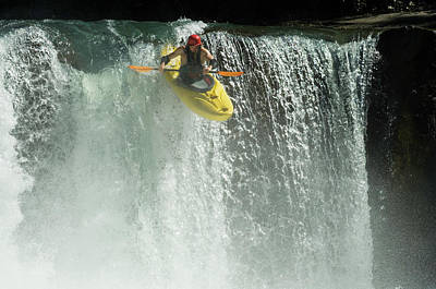 Recreational Boat Photograph - Whitewater Kayaker Descending Waterfall by Darryl Leniuk
