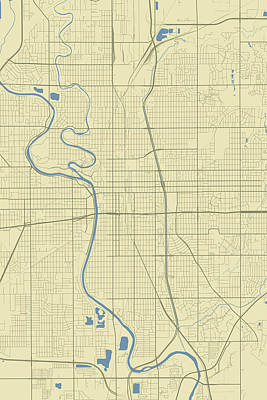 Travel - Wichita Kansas USA Classic Map by Jurq Studio