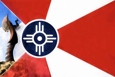 Digital Art - Wichita Keeper Of The Plains Flag by JC Findley