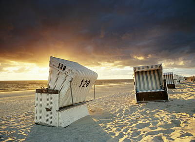 Lounge Chair Photograph - Wicker Beach Chairs, Hornum, Sylt by Jorg Greuel