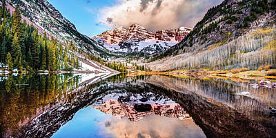 Photograph - Wide Angle Maroon Bells Panoramic Landscape by Gregory Ballos