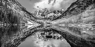 Photograph - Wide Angle Maroon Bells Panoramic Landscape - Monochrome by Gregory Ballos