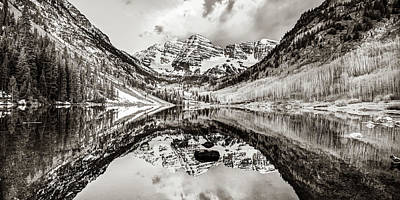 Photograph - Wide Angle Maroon Bells Panoramic Landscape - Sepia by Gregory Ballos