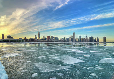 Water Photograph - Wide Icy View Of Chicago Skyline by Chrisp0
