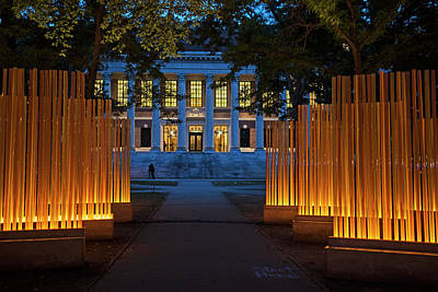 Photograph - Widener Library Harvard Yard Harvard Square Cambridge Ma Lighted Display by Toby McGuire