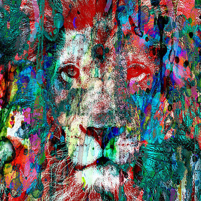 Painting - Wild And Colorful 2 - The Lion Sleeps 48x48 Wall Size Canvas Or Paper by Robert R Splashy Art Abstract Paintings