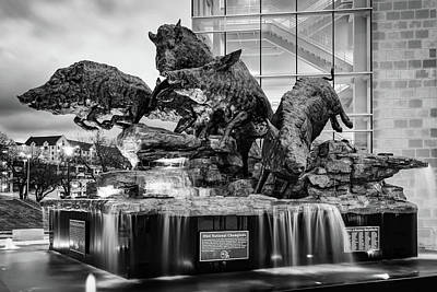 Photograph - Wild Band Of Razorbacks Monument Fountain - Fayetteville Arkansas - Black And White by Gregory Ballos
