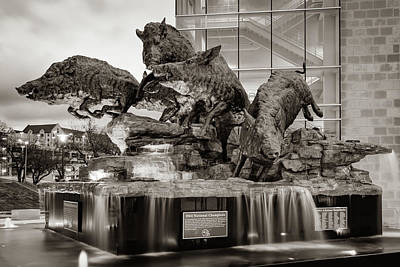 Photograph - Wild Band Of Razorbacks Monument Fountain - Fayetteville Arkansas - Sepia by Gregory Ballos
