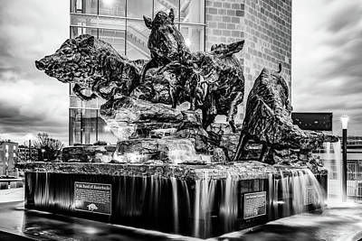 Photograph - Wild Band Of Razorbacks Monument Fountain - University Of Arkansas Monochrome by Gregory Ballos