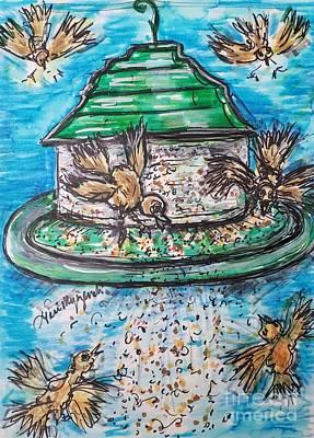 Thomas Kinkade Rights Managed Images - Wild Bird Feeder  Royalty-Free Image by Geraldine Myszenski