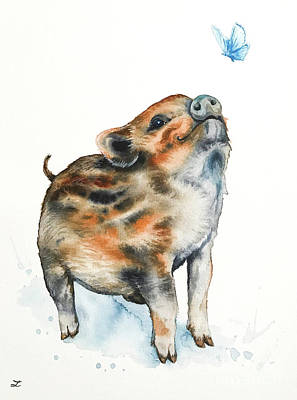 Painting - Wild Boar Piglet And Butterfly by Zaira Dzhaubaeva