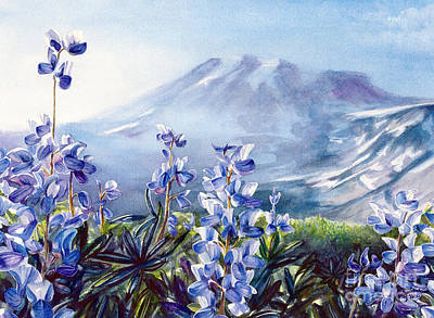 Painting - Wild Lupine on Mount Rainier by Jacqueline Tribble