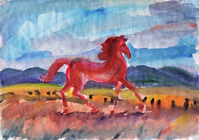 Painting - Wild Mustang Freedom by Dobrotsvet Art