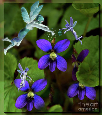 Digital Art - Wild Violets And Forest Fairies by Elaine Manley