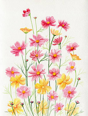 Cosmos Flowers Painting - Wildflowers by Melly Terpening