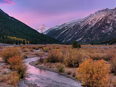 Wildhorse Creek Autumn Sunrise Art Print by Leland D Howard
