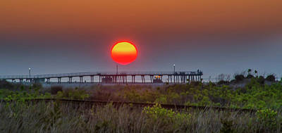 Photograph - Wildwood Crest Pier - Big Red Sunrise by Bill Cannon