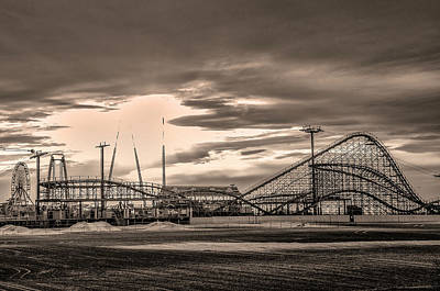 Photograph - Wildwood In  Sepia - Great White Roller Coaster by Bill Cannon