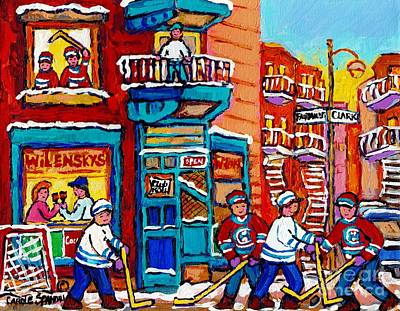 Painting - Wilensky Winter Wonderland Fairmount And Clark Street Hockey Scene Montreal Paintings C Spandau      by Carole Spandau