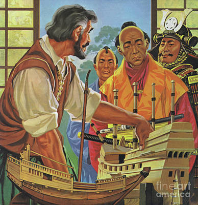 Painting - Will Adams Shows A Model Boat To The Shogun by Angus McBride