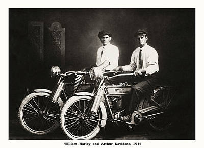 Photograph - William Harley And Arthur Davidson 1914 by Bill Cannon