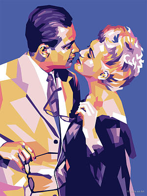 Vintage Diner Cars - William Holden and Judy Holliday by Stars on Art
