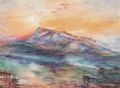Mountain Royalty-Free and Rights-Managed Images - William Turner Mount Rigi Watercolor Study by Irina Sztukowski