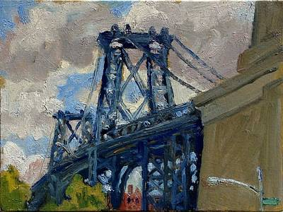 Painting - Williamsburg Bridge Nyc Cloudy by Thor Wickstrom