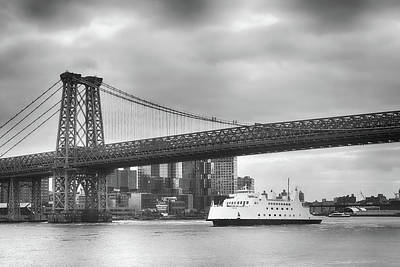 Photograph - Williamsburgh Bridge And White Boat by Cate Franklyn
