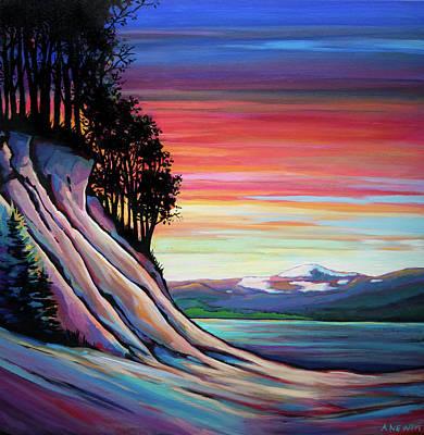 Painting - Williston Lake Sunset by Alison Newth