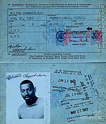 Mixed Media - Wilt Chamberlain Passport by United States Government