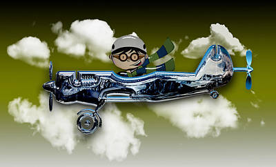 Mixed Media Royalty Free Images - Wind Up Airplane 2 Royalty-Free Image by Marvin Blaine