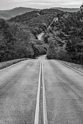Photograph - Winding Stair Mountain - Talimena Scenic Byway Drive - Vertical Monochrome by Gregory Ballos