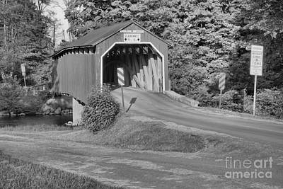 Photograph - Winding Up To The Enslow Covered Bridge Black And White by Adam Jewell