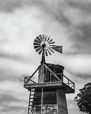 Photograph - Windmill Cayucos California Bw by David Gordon